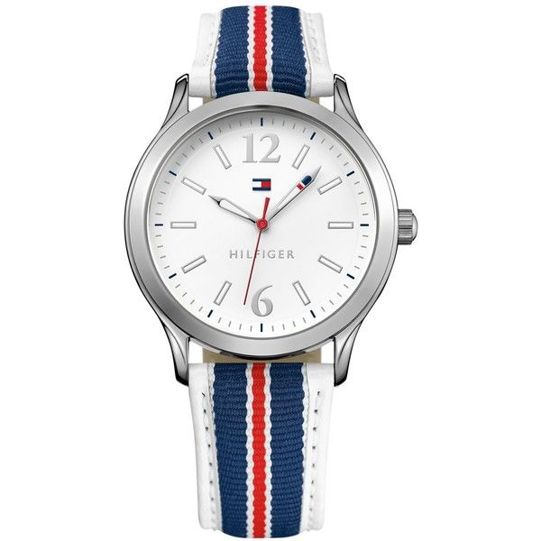 Tommy Hilfiger Women's Navy and Red Grosgrain Strap Watch 38mm 1781558 ($34) ❤ liked on Polyvore featuring jewelry, watches, navy blue watches, tommy hilfiger, navy blue jewelry, navy jewelry and american jewelry
