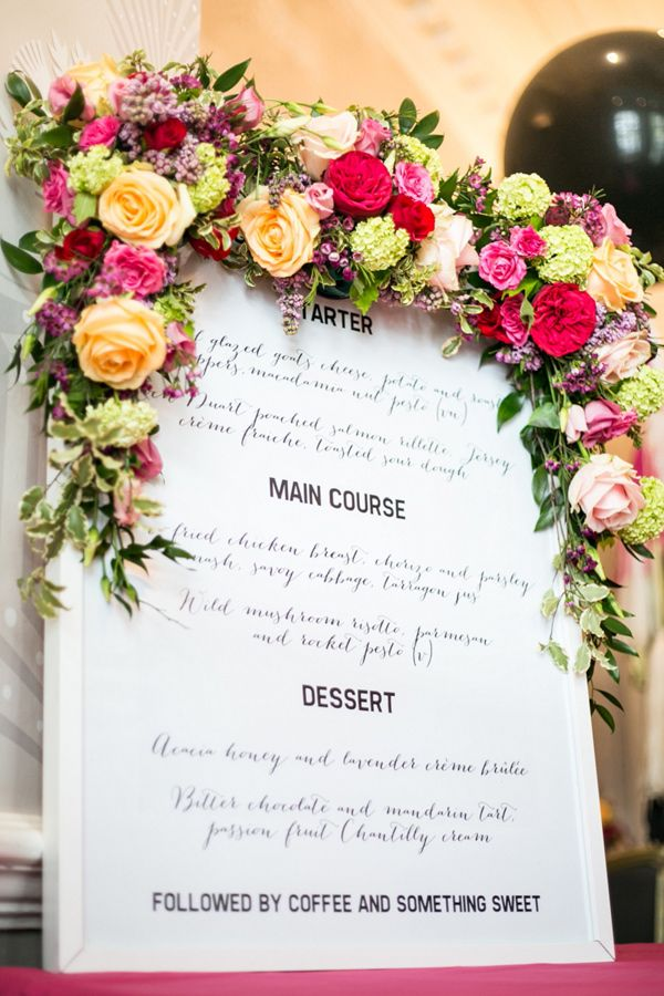 menu topped with flower garland, photo by Anneli Marinovich Photography http://ruffledblog.com/kate-spade-inspired-wedding-event #floralgarland #weddingsigns