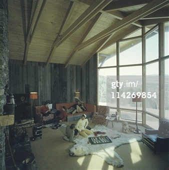 Sugarbush Mountain ski resort, in New England (Vermont, USA, circa 1960).great place to sit and play backgammon (Photo by Slim Aarons/Getty Images);                  online backgammon> on.fb.me/1869cF3