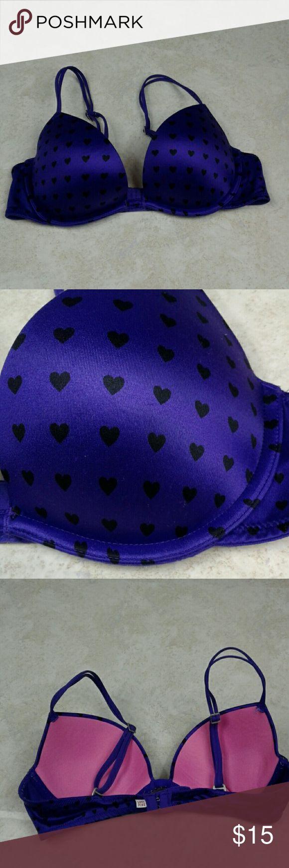 Victoria's Secret pink push purple hearts bra. 34B Excellent condition purple eggplant color. With black heart designs. Size 34B underwire push up bra. Victoria's Secret Intimates & Sleepwear Bras