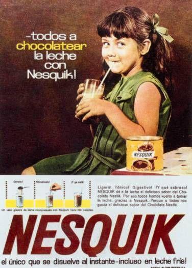 FUNCIÓN INFORMATÍVA: identificar, indicar, descubrir, comunicar mediante una imágen. Nesquik 1964. Español