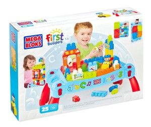 Mega Bloks Play 'n Go Table Fold and go table with building prongs. 3-in-1 toy offering building platform, portability and storage. 4 fun scenes, stickers, figurine and car. http://bit.ly/1K0j0FI
