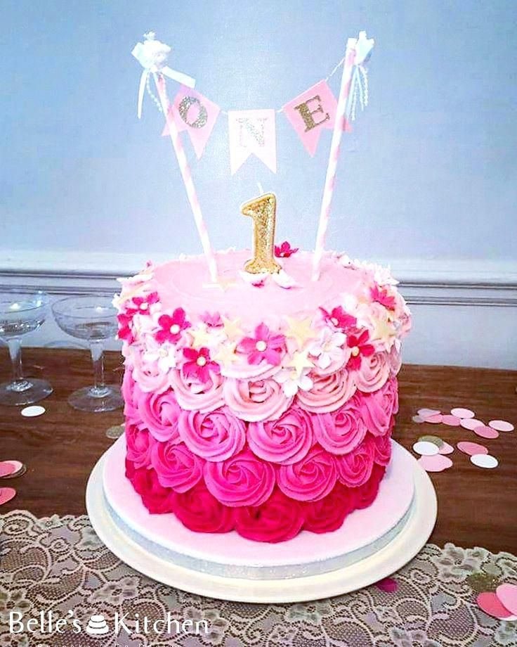 St Birthday Girl Cake Ideas Pink Buttercream Rosette First Birthday Cake Cake Girls Birthda Ideas De Pastel De Cumpleanos Pastel De Fiesta Pastel De Cumpleanos