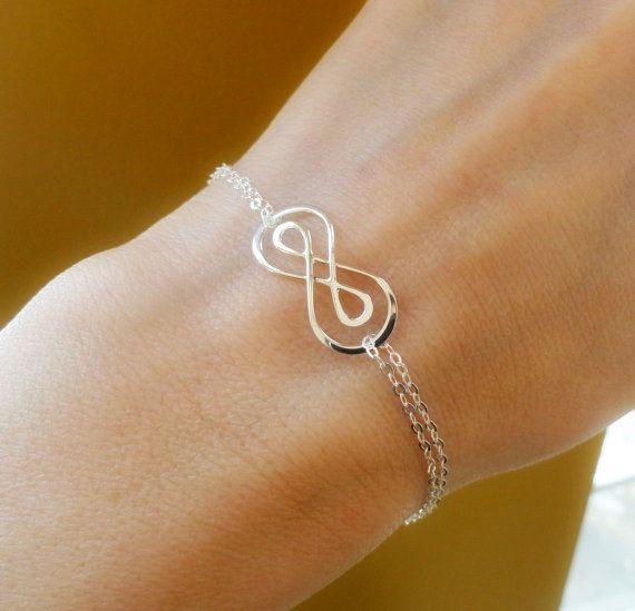 Silver Double Infinity symbol bracelet figure by OtisBJewelryGifts