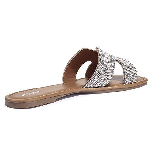 ca9075d8fcae3 Amazon.com | FITORY Womens Flat Sandals Slides Rhinestones Slip On ...