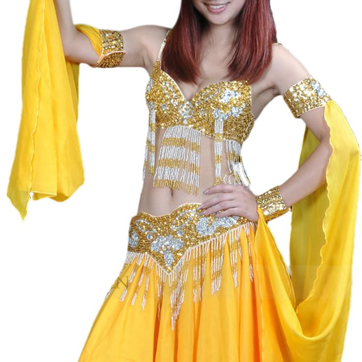 Opentip.com: BellyLady Professional Belly Dancing Costume Set, Fringe Sequined Bra & Waist Belt