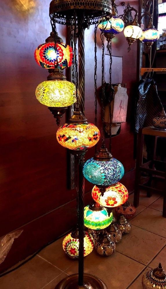 Turkish Moroccan Mosaic Shimmer Handmade Floor Lamp 7 Large Globes