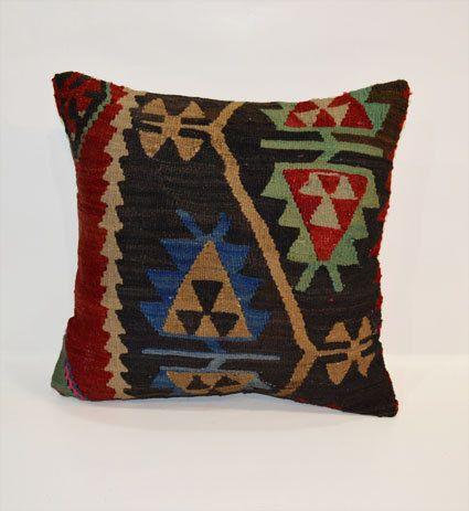 Kilim pillow Decorative Pillows Tribal Boho Pillow Cover 40x40 Woolen Organic Cushion 16x16 Turkish Colorful Pillow Vintage Cozy Home Decor on Etsy, $48.00