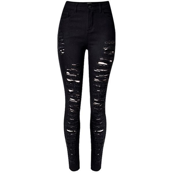 Choies Black Extreme Ripped Skinny Jeans (£21) ❤ liked on Polyvore featuring jeans, pants, bottoms, black, destroyed skinny jeans, destruction jeans, torn skinny jeans, skinny fit jeans and skinny leg jeans