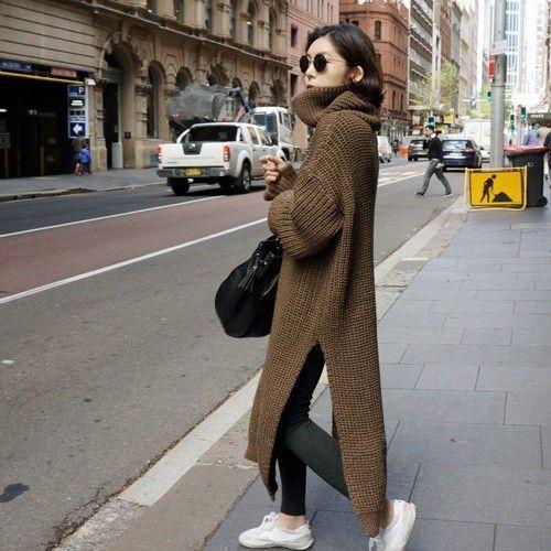 [Soonyour] Южнокорейская высокий воротник хеджирования свободные шерстяной свитер дна свитер женский утолщение длинный абзац раскол Q024 купить на AliExpress