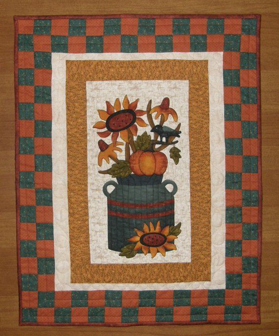 Fall Quilted Wall Hanging Fall Quilt Fall Quilted Table Topper Fall Sunflower Pumpkin Quilt Fall Art Quilt Fall D Fall Quilts Quilted Wall Hangings Quilts
