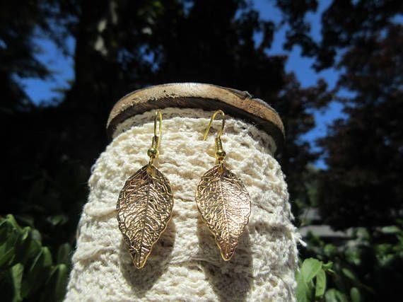 Metal leaf earrings Beautiful earrings nature inspired