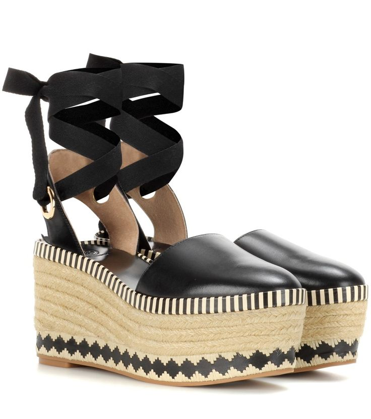Tory Burch - Dandy leather wedge espadrilles - Tory Burch opts for a  distinctly summertime look with the Dandy espadrilles. The jute sole is  given a dose of ...