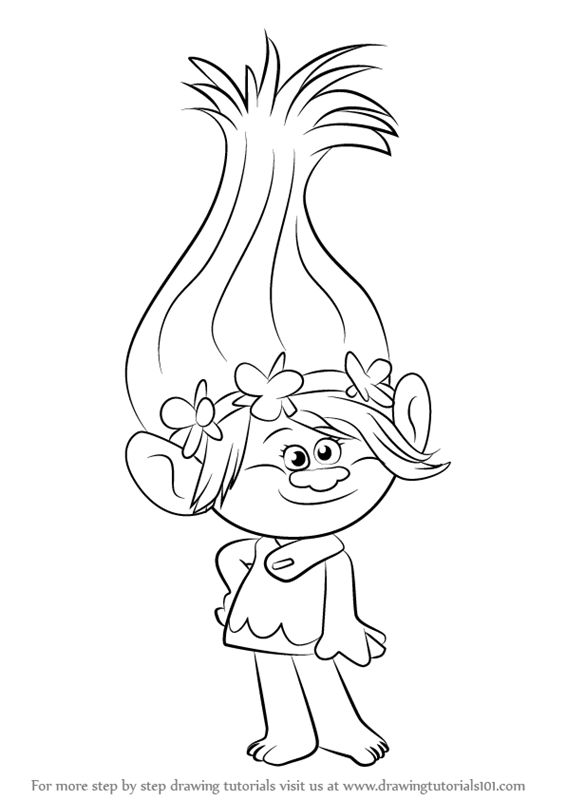 How to Draw Princess Poppy from Trolls - DrawingTutorials101.com