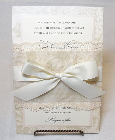 ANA Lace Wedding Invitation Invite Vintage by LavenderPaperie1