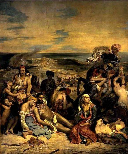Delacroix Massacre of Chios - Depicts the Greek War of Independence - note the use of diagonals and swirling directions and open composition