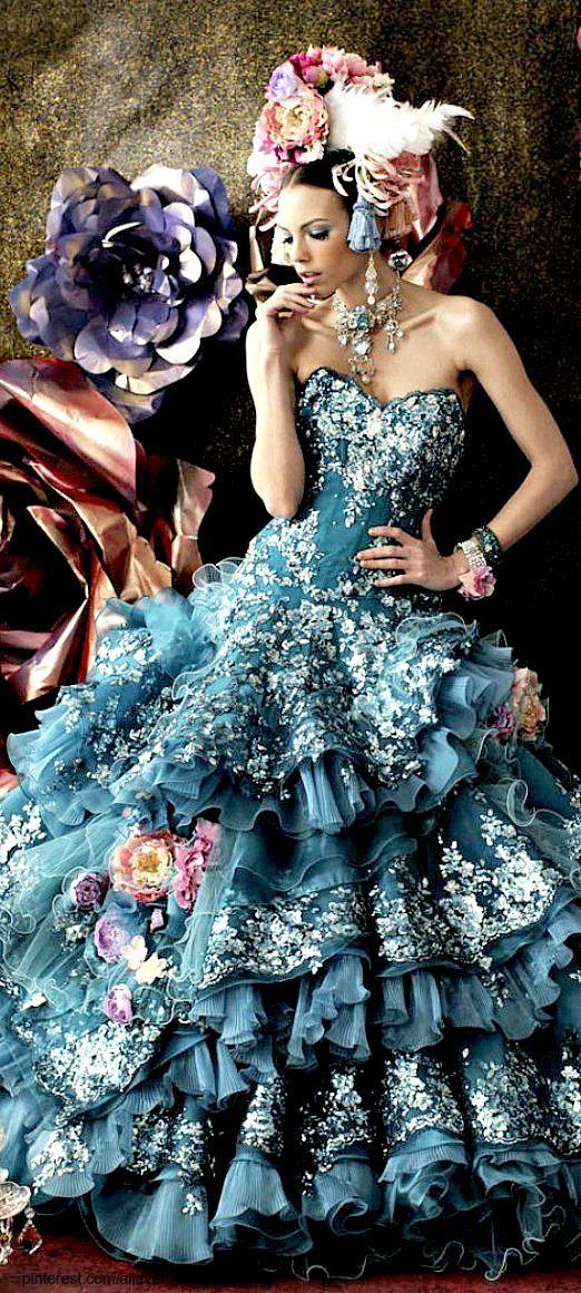 ~ Unique Stella de Libero, gown, couture, wedding, bridal, dress, fantasy, flowers, flower, floral, flora, fairytale, fashion, designer, beautiful, stunning, prom dress, ball gown,