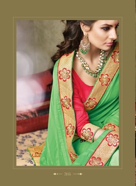 LadyIndia.com #Heavy worked Saree Sarees, Green Designer Wear Chiffon Jaquard & Net Sarees with Art Silk Blouse, Heavy worked Saree Sarees, https://ladyindia.com/collections/ethnic-wear/products/green-designer-wear-chiffon-jaquard-net-saree-with-art-silk-blouse