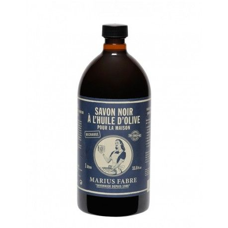 Originale Sapone Nero di Marsiglia per pulire prodotto da Marius Fabre. Ricetta naturale 100% biodegradabile e a base di solo olio d'oliva.