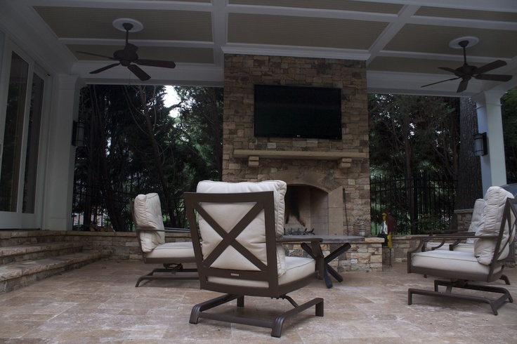 Outdoor fireplace with tv mount fireplaces and firepits for Outdoor room with fireplace