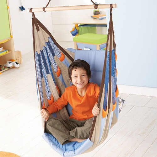 Haba Piratos Swing Seat  The extra thick upholstery of this hanging chair makes this a must for a kids room. With fun but non-intrusive colors, this sturdy seat with an all-in-one seat belt puts a new spin on reading corner. You may never get your child out. more»  $169.99 | Moolka