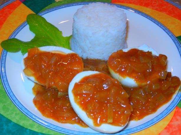 South African Curried Eggs.  I replace the sugar with a tablespoon of Mrs Balls peach chutney