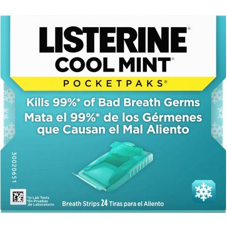 Listerine Cool Mint Pocketpaks Breath Strips, 24 count, Multicolor
