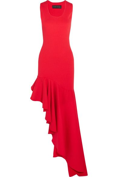 Michael Lo Sordo - Legion Asymmetric Ruffled Stretch-knit Maxi Dress - Red - UK12