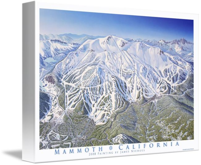 """""""Mammoth+Resort+California""""+by+James+Niehues,+Loveland+//+The+town+of+Mammoth+Lakes+is+located+about+40+miles+south+of+Mono+Lake+in+the+Sierra+Mountain+Range.++This+print+has+the+lift+lines+and+elevations+on+the+image.+//+Imagekind.com+--+Buy+stunning+fine+art+prints,+framed+prints+and+canvas+prints+directly+from+independent+working+artists+and+photographers."""