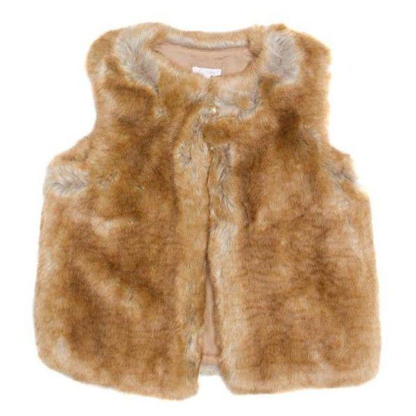 Chloé Eco-fourrure vest ($117) ❤ liked on Polyvore featuring outerwear, vests, neutrals, brown vest, sleeveless waistcoat, sleeveless vest, brown waistcoat and vest waistcoat