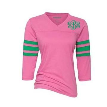 Pink & Green Monogrammed top