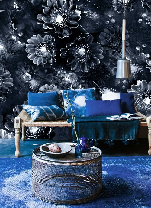 Ellie Cashman Moonlight Meadow designer wallpaper in Blue Ink. Visit www.thewonderinus.com {blog} and www.elliecashmandesign.com {shop}.
