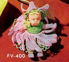 vintage pattern for a super cute flower fairy dress & hat. original calls for vintage size 70 thread & doll measuring 2 1/4 inches tall. though bigger thread size would yield an outfit for a bigger doll