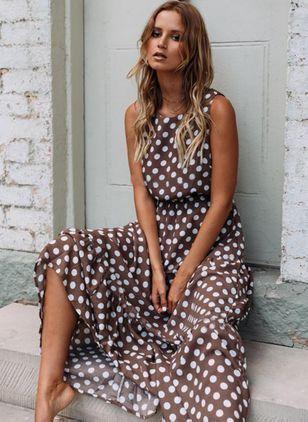 Boho 3/4 Ärmel Uni Maxi Kleider – Floryday