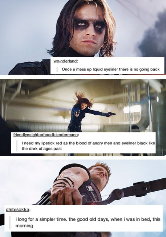 More Avengers + text posts, #3 Bucky, black widow, Hawkeye  That second one is a reference to dr horribleness sing along blog.
