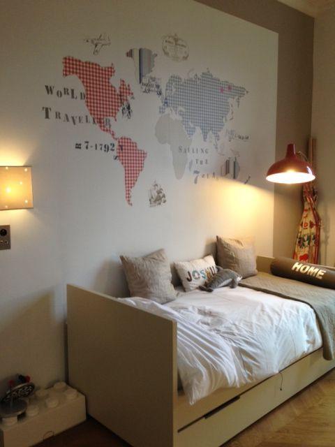 Chambre Nanelle, carte monde, Nanelle, chambre garçon