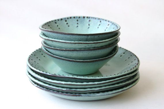 Stoneware Dinnerware Set - 8 Peices - Aqua Mist - Deep Salad Dinner Plate and Bowl - French Country