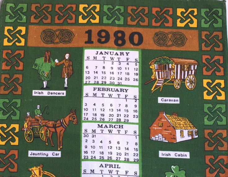 Irish Linen Cotton 1980 Calendar Ireland Tea Towel - Luck of the Irish Shamrock Leprechauns Irish Coffee - Made in Ireland - New Old Stock by FunkyKoala on Etsy
