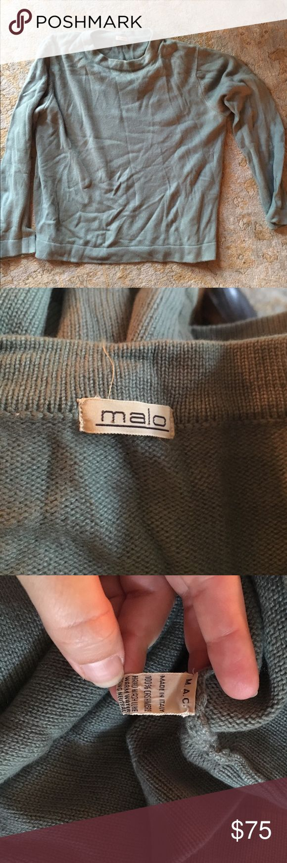 Mens Cashmere sweater Malo Italian Cashmere sweater, small snag on inside of bottom hem. It's a green grey neutral color Malo Sweaters Crewneck