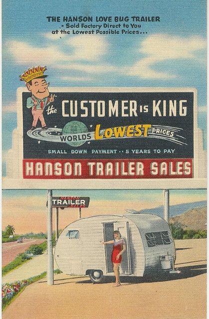 Hanson Love Bug  Home Office & Factory  Glendora, California  Branch office lots Pasadena & Palm Springs, El Monte & Long Beach  (Pub. by Mellinger Studios-Altadena, Calif.)