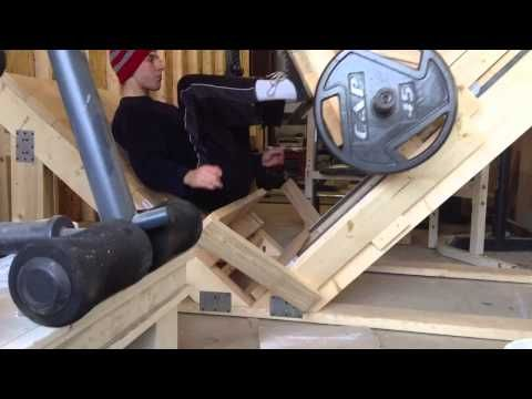 Our Homemade Leg Press Machine Youtube At Home Gym