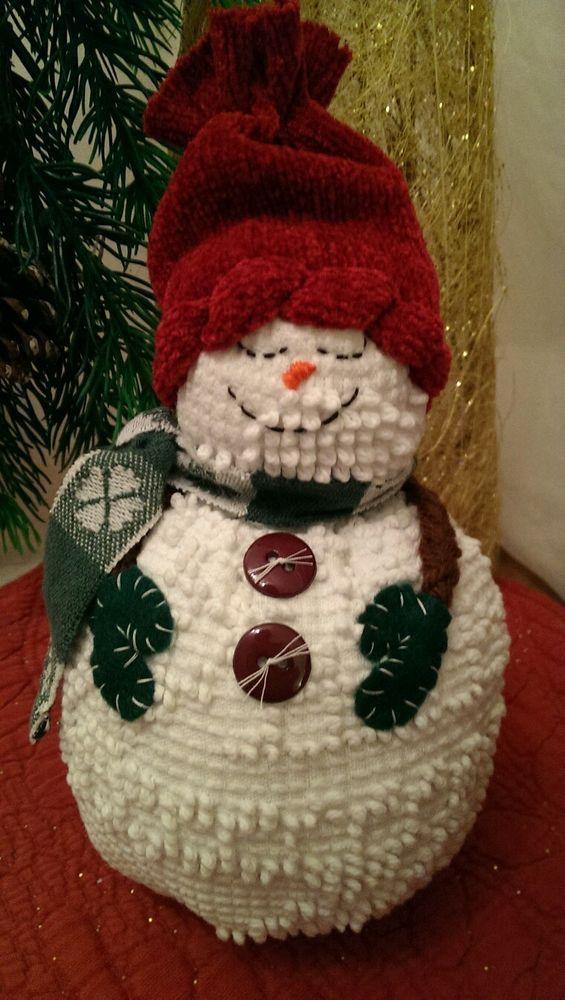 Handmade Vintage White Chenille Hobnail Bedspread Snowman