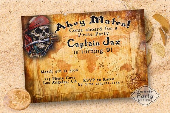 Personalized 20 NEW Pirate Birthday Invitations