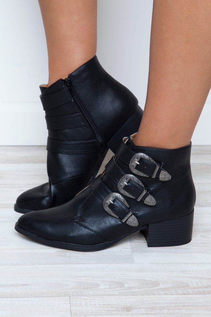 "Kick it up a notch with these amazing Truth or Dare Buckle Booties! These vegan leather booties will be your new go-to with their almond toe, and buckle ankle detailing. 5"" zipper at the instep. - 2.5"