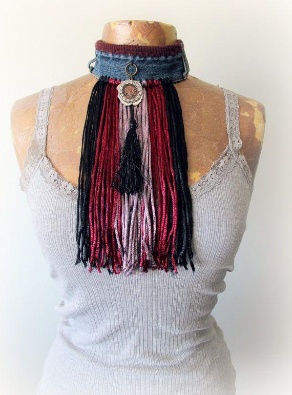 Shaggy Fringe Choker Hippie kunst sieraden gerecycled Denim