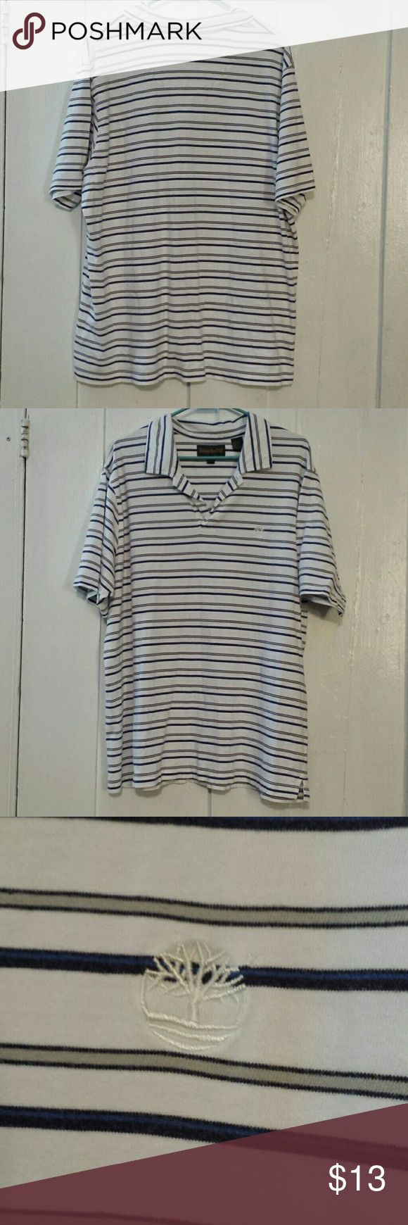 Timberland polo 1/4 length sleeves, shirt is striped in blues and tans and black. Great condition Timberland Shirts