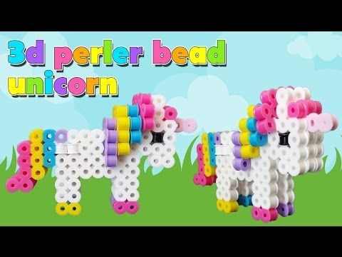 Cute 3D Unicorn Perler Bead Pattern. Laceys Crafts is all about sharing super simple and adorable crafts for kids. Enjoy!