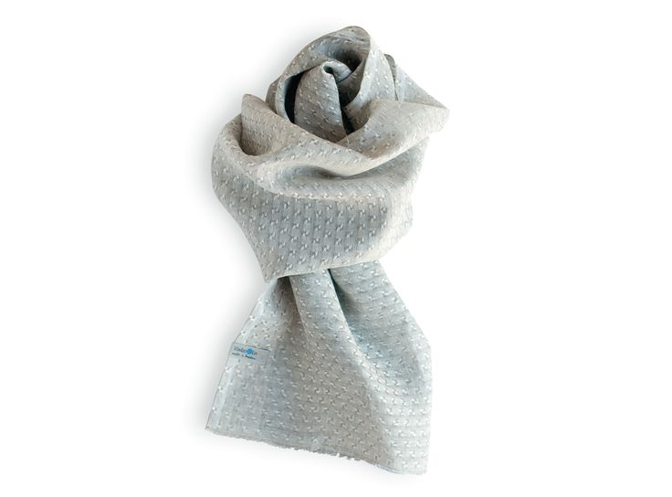 White/unbleached pure linen shawl. Made in Sweden. Unisex.