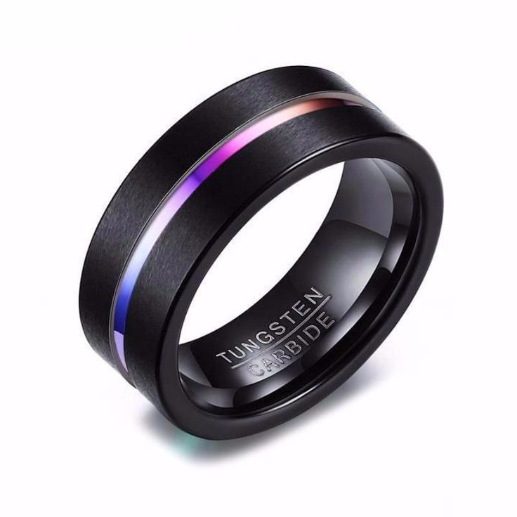Christmas Gifts For Him - 8MM Black Rainbow Tungsten Promise Ring For Men