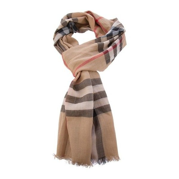 BURBERRY Check scarf ($335) ❤ liked on Polyvore featuring accessories, scarves, burberry scarves, silk shawl, brown shawl, burberry shawl and silk scarves